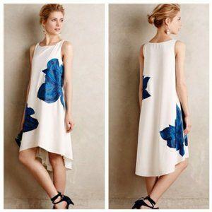Anthropologie Ranna Gill Blue Floral High Lo Dress